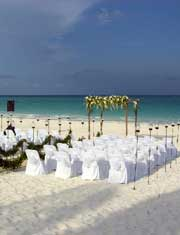 Playa del Secreto Beach all set-up and waiting for wedding guest.