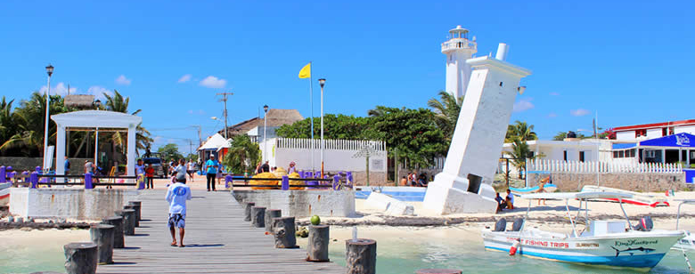 Puerto Morelos's landmark a leaning lighthouse tower that shows the Soul of Mexico's Caribbean.