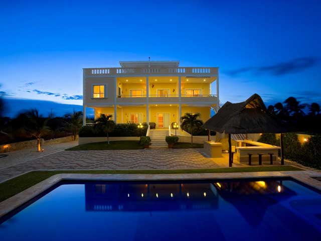 Night View of Villa Sol y Luna minutes from Puerto Morelos and Cancun, Mexico.
