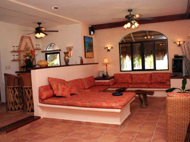 Puerto Morelos | Villa Umaki-Ha's Living Room has a Large Sofa Area with chase lounges