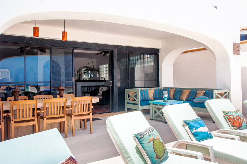 Puerto Morelos |Secret Beach Villas | Fish Villa |view of Outside Patio Dining table and Lounge Chairs